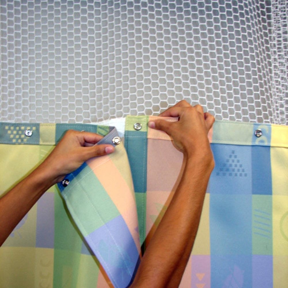 Second Step: Snap on the first cubicle curtain panel, starting at one side, until you get to the end of that privacy panel.    -For your convenience, all Simply 66® cubicle curtains panels are manufactured with small tabs that show exactly where each Simply 66® privacy curtain panel begins and where it ends.    -All Simply 66® panel cubicle curtains are made to fit ANY Simply 66® mesh top, in any room, in any facility.