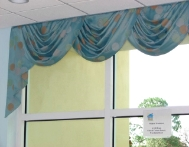 Swag Valance with Cascade- Donated to New Horizons Center for Children