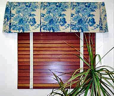 Box Pleat Window Valance with Horizontal Wood Blinds