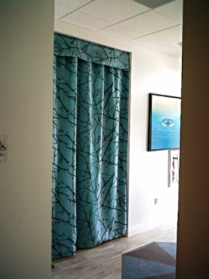 Teal Drapery & Valance with Printed Sheer Overlay-South Florida Radiation Oncology