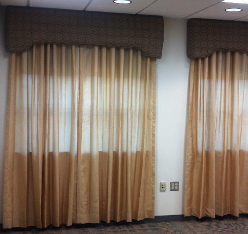Beige Sheer Ripplefold Draperies   With Custom Cornice