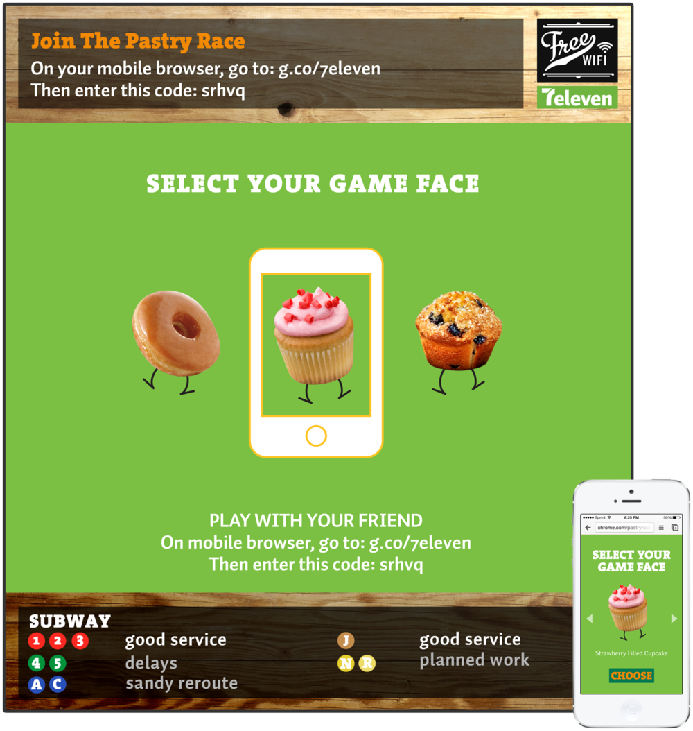 Customer can select their pastry character from their device.