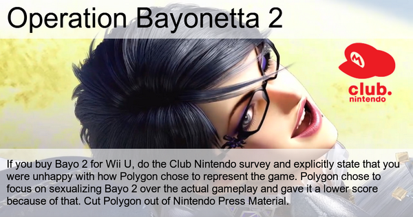 As seen on  reddit , angry fans aim to persuade Nintendo to punish Polgyon for acknowledging Bayonetta's over-sexualization.