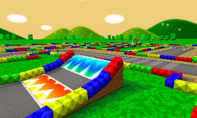 This old-school track has a Boost Pad (Yellow/Red) leading up to a Ramp (Blue).