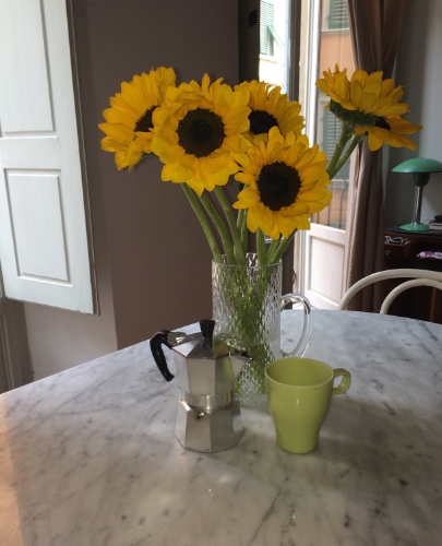 Morning coffee & girasoli.....Via San Niccolo, Firenze, May 2014