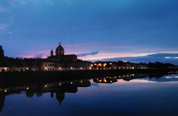 Sunset, San Frediano, Firenze. (My apartment will be right behind that church in September)