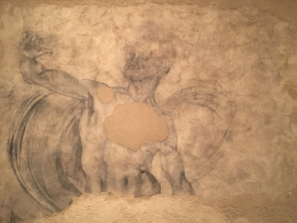 "Mural Fragment of a Male Nude: d etached from its original location this is the only surviving monumental drawing of his early period, 1501-5. Vasari wrote in 1550 that the artist had a habit of randomly drawing on ""paper & walls' in his youth."