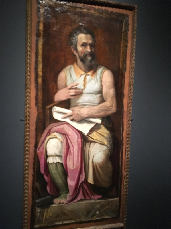 Leather portrait circa 1600 by Federico Zuccaro. Portrayed in the guise of M's own creation: his pose & dress emulating those of his sculpture of Moses on the tomb of Pope Julius II in San Pietro Vincoli, Roma.