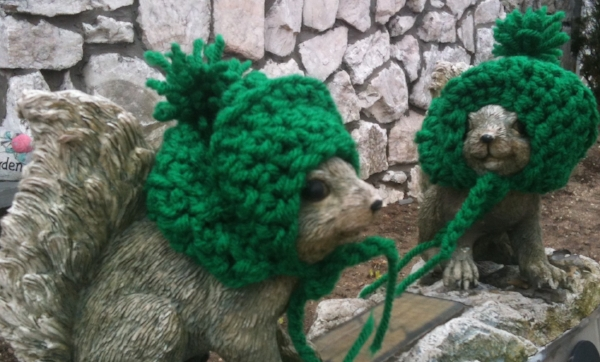 Thanks to the Sisters of the Holy Family of Nazareth, Mom had crocheted hats for her mailbox Squirrels for every occasion.