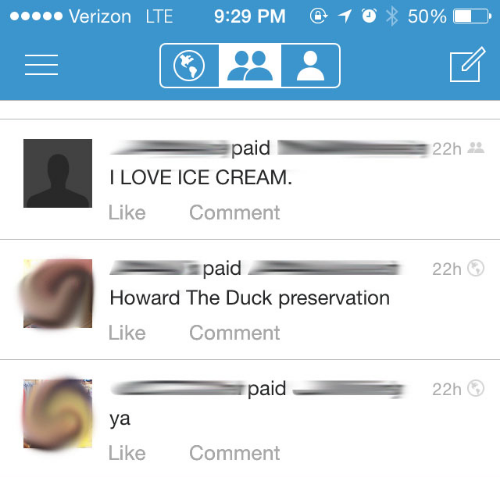 A sample Venmo feed