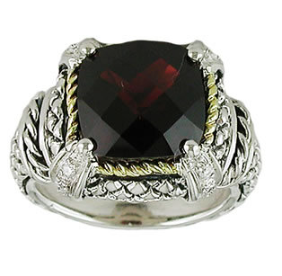 18kt and Sterling Silver Cushion Garnet and Diamond Ring ACR02/10-G