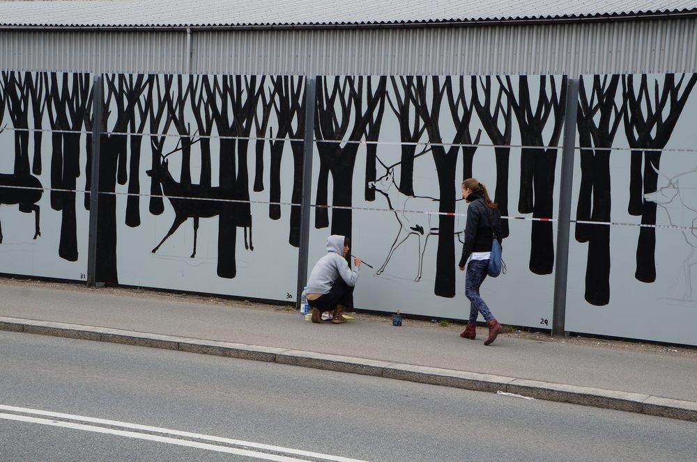 """Værket """"Inbetween"""" af street artist Hyuro, 2013 Ørestad"""