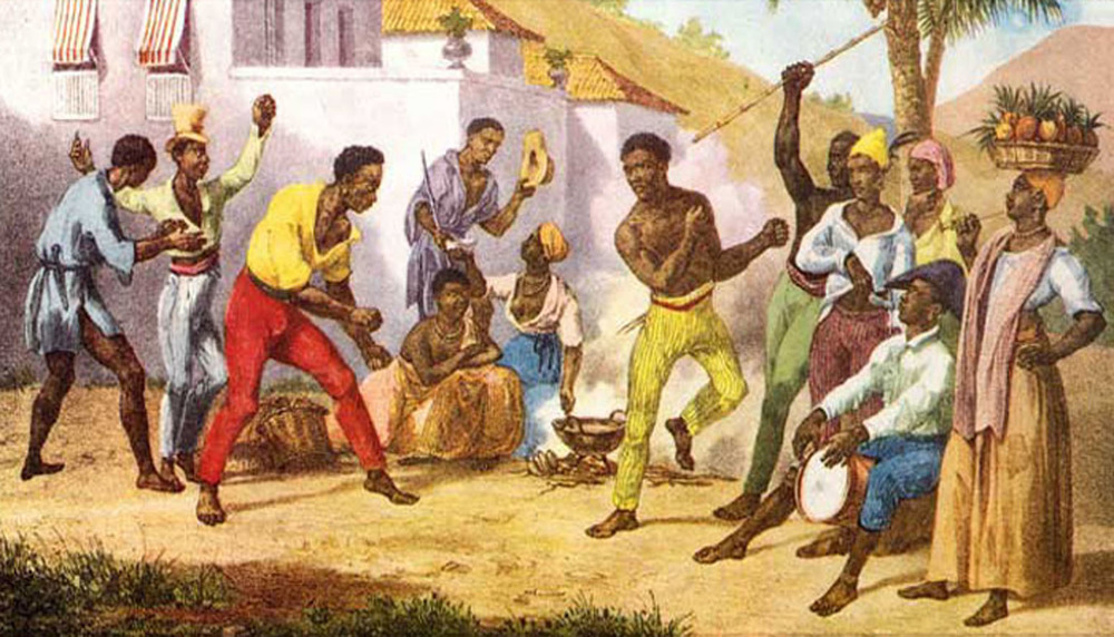 Slaves playing Capoeira