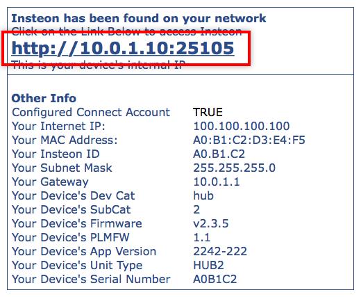 identify insteon hub ip address and port insteon