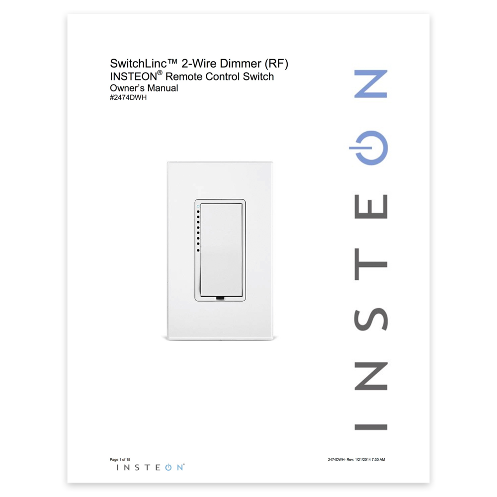 Dimmer Switch (2-Wire) - Owner\'s Manual — Insteon