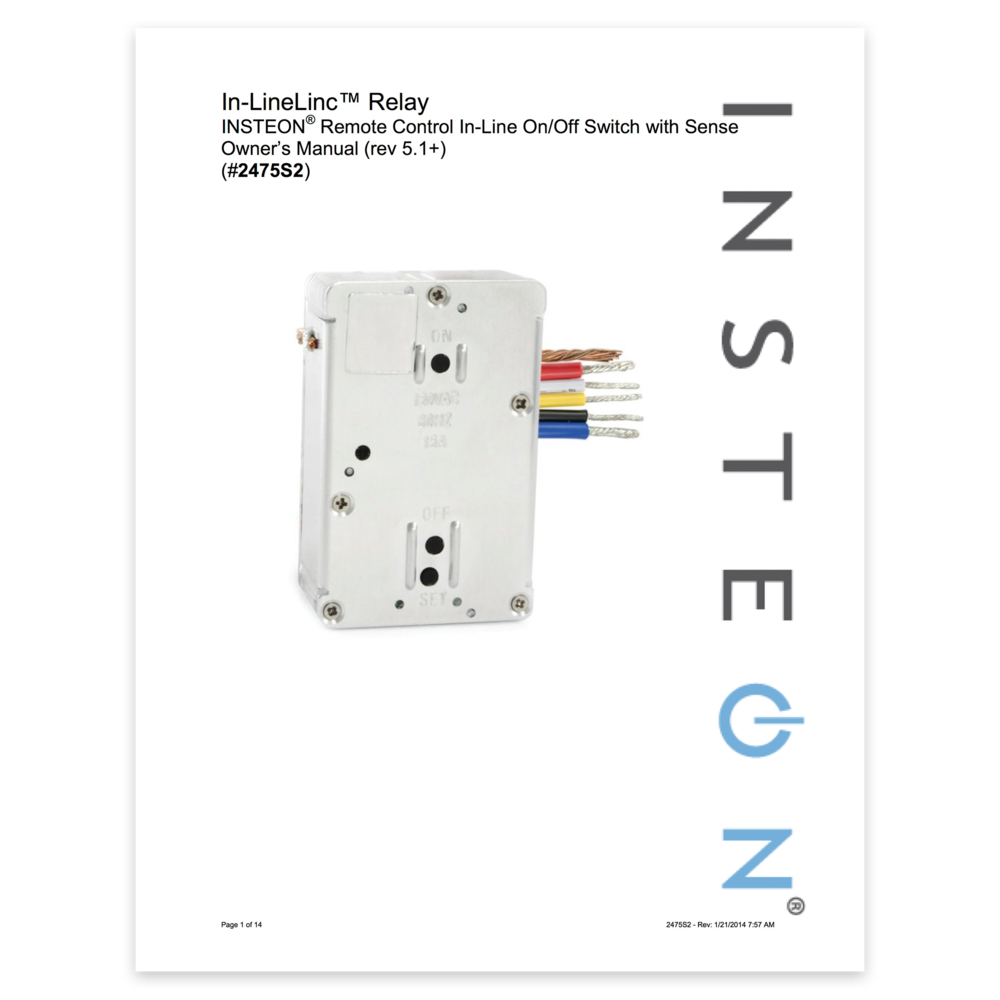 In Linelinc Relay With Sense Owners Manual Insteon Electrical Pdf
