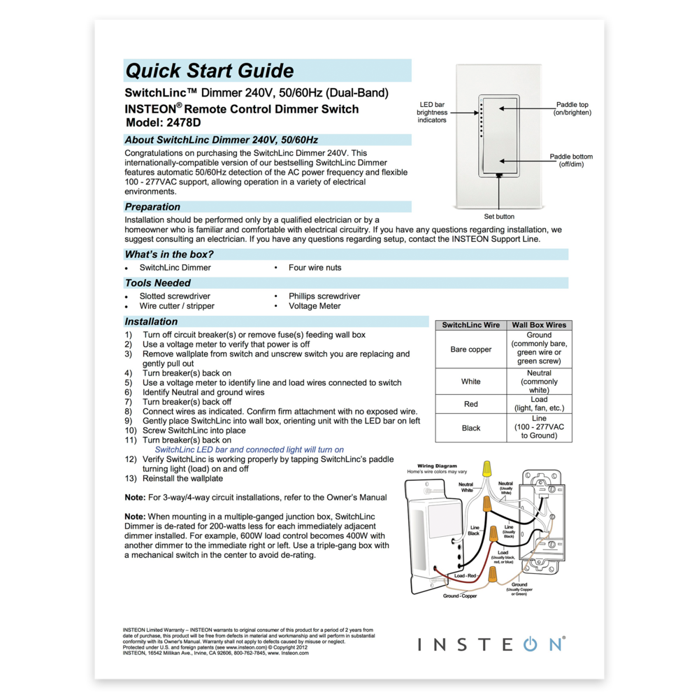 Switchlinc Dimmer 2005 2010 Quick Start Guide Insteon And Basic Wiring Home