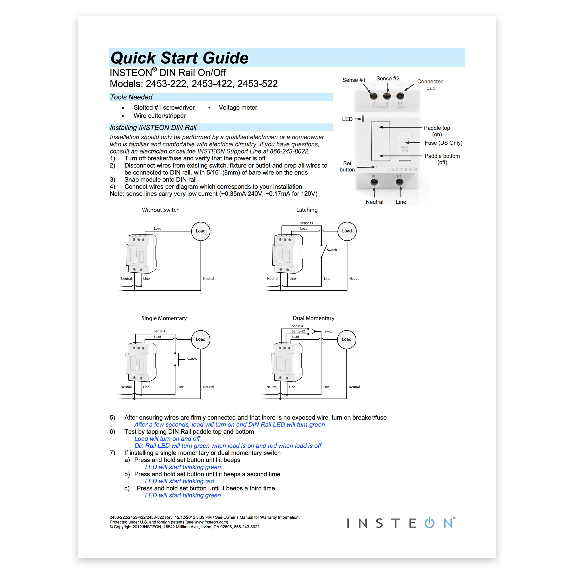 Insteon 2453 222 Din Rail On Off 4 Way Wiring Diagram