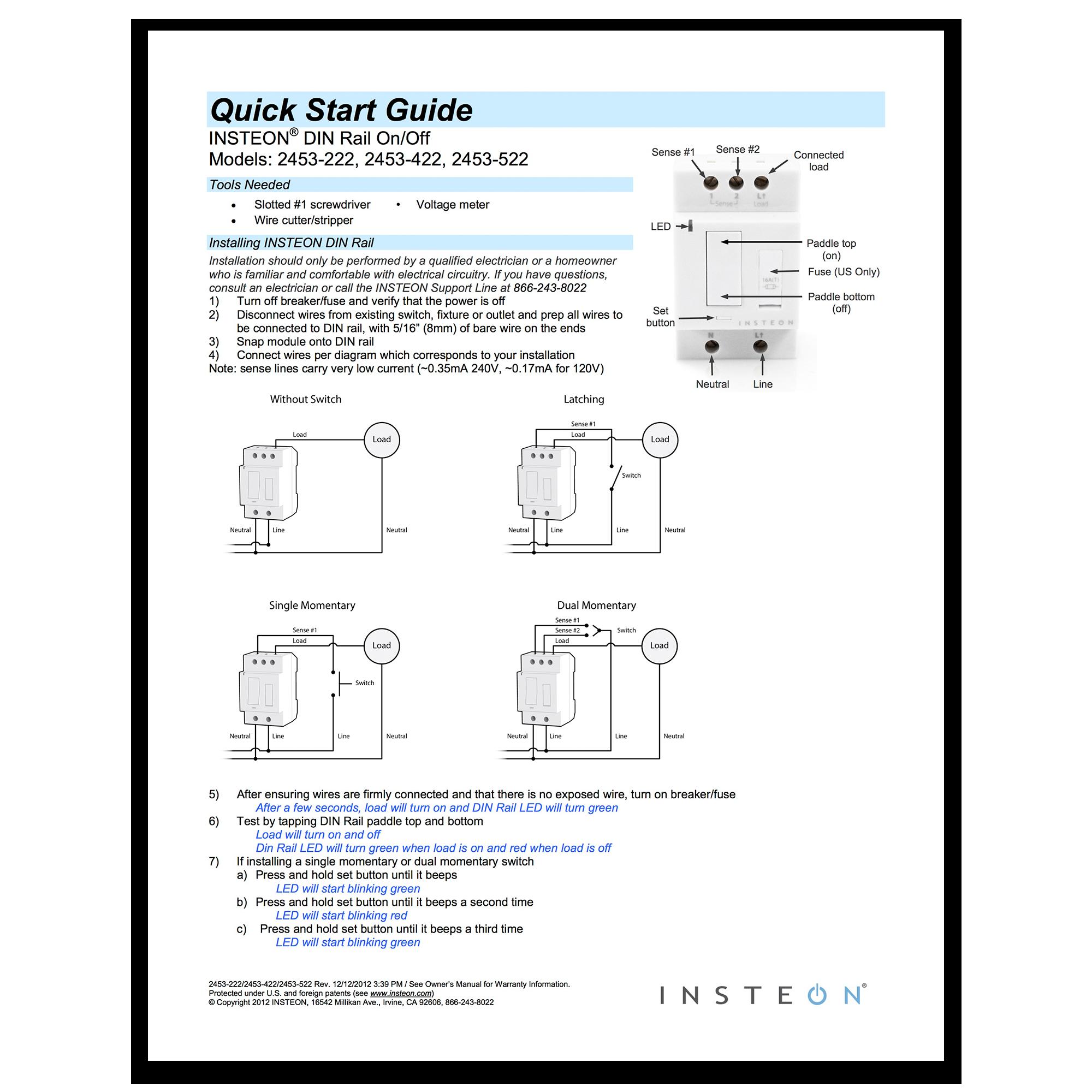 Insteon 2453 222 Din Rail On Off 4 Way Wiring Diagram