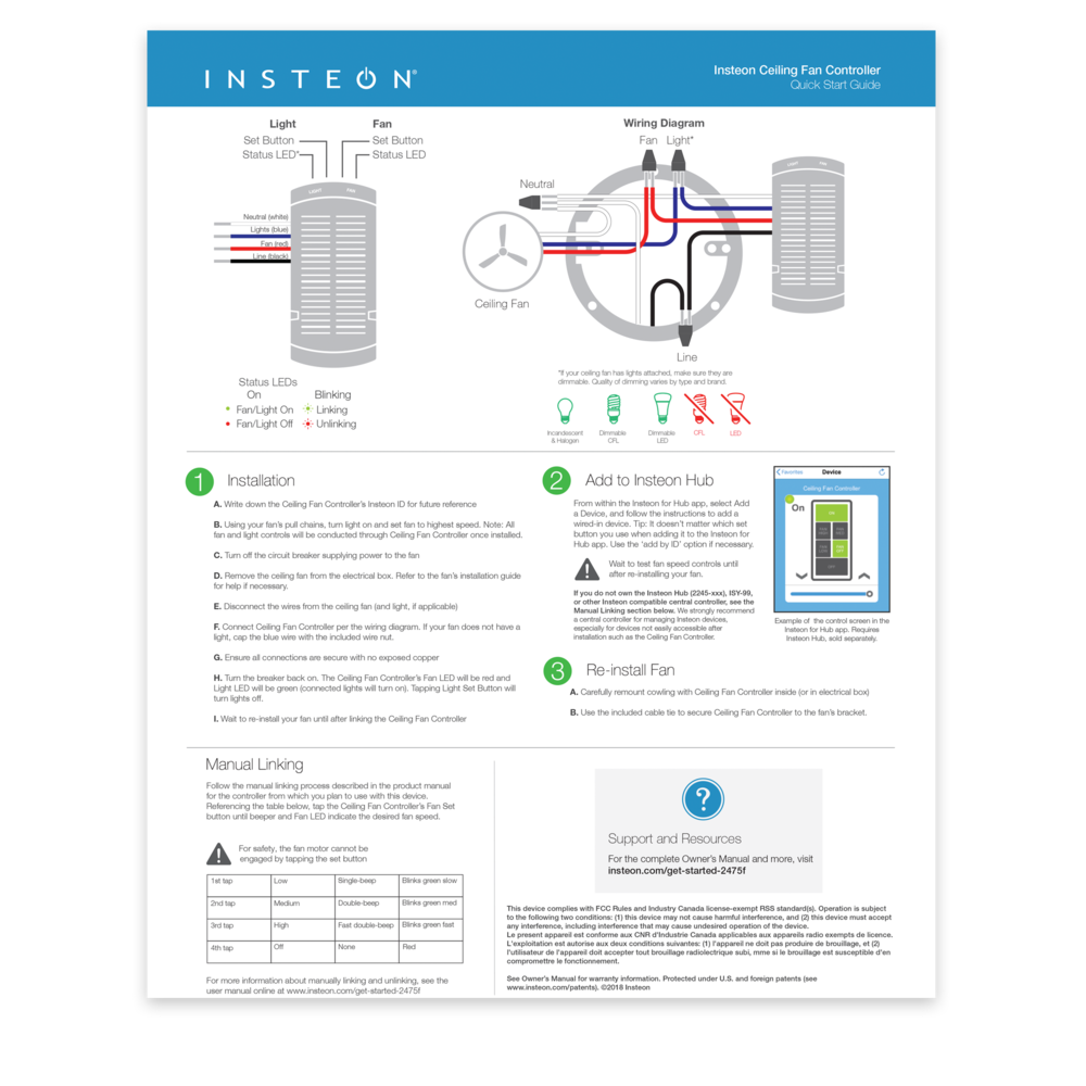 1 Installation Manual Linking Re-install Fan Add to Insteon Hub