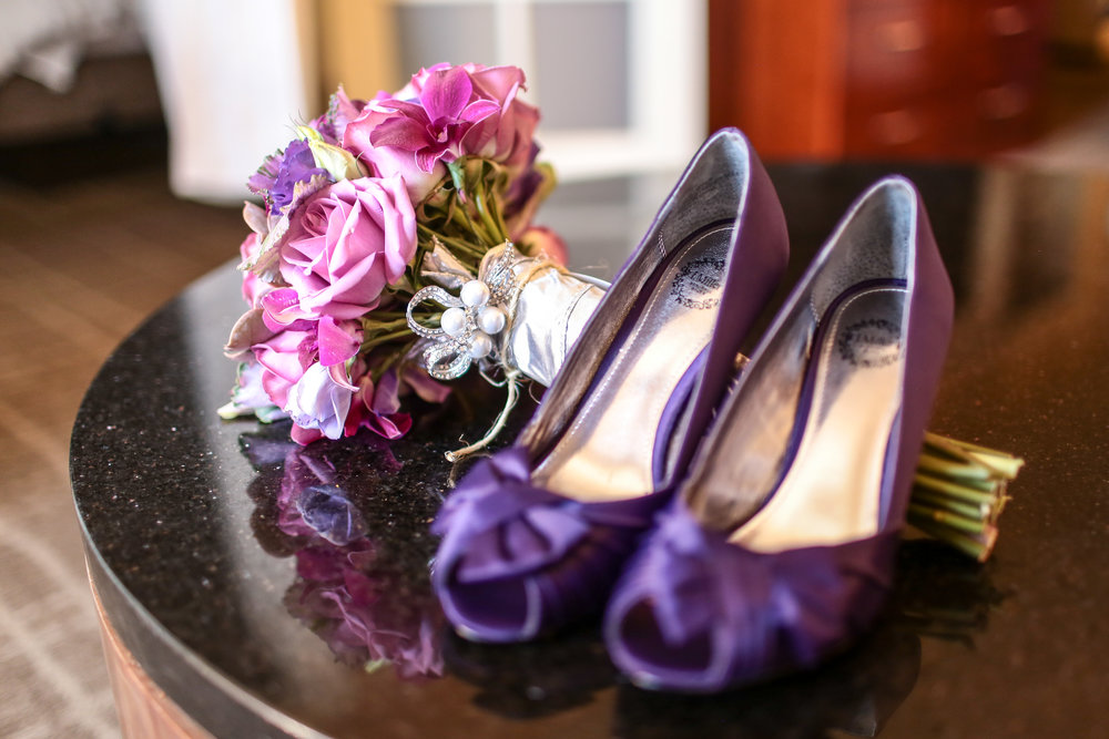 Purple shoes and flowers for Amanda and Eric's Marina del Rey wedding.