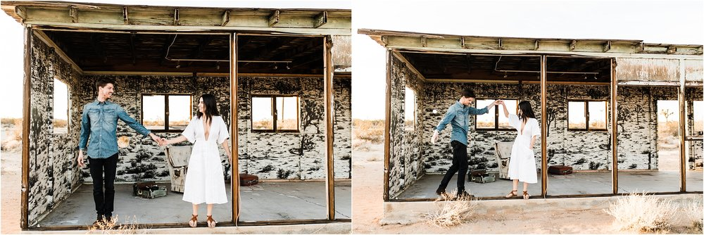 They saw this suuuuper cool abandoned house with Joshua Tree wallpaper and some old furniture and stuff inside. SO COOL! Of course we had to stop by!