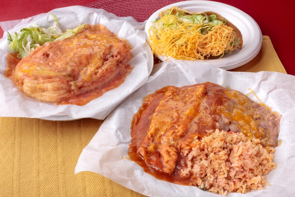 Dinner Plate: Chile Rellano, Taco, Enchilada, Beans and Rice