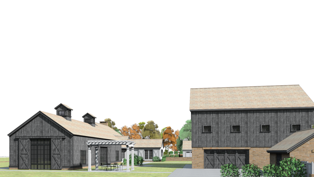 3d rendering: pool barn & car barn