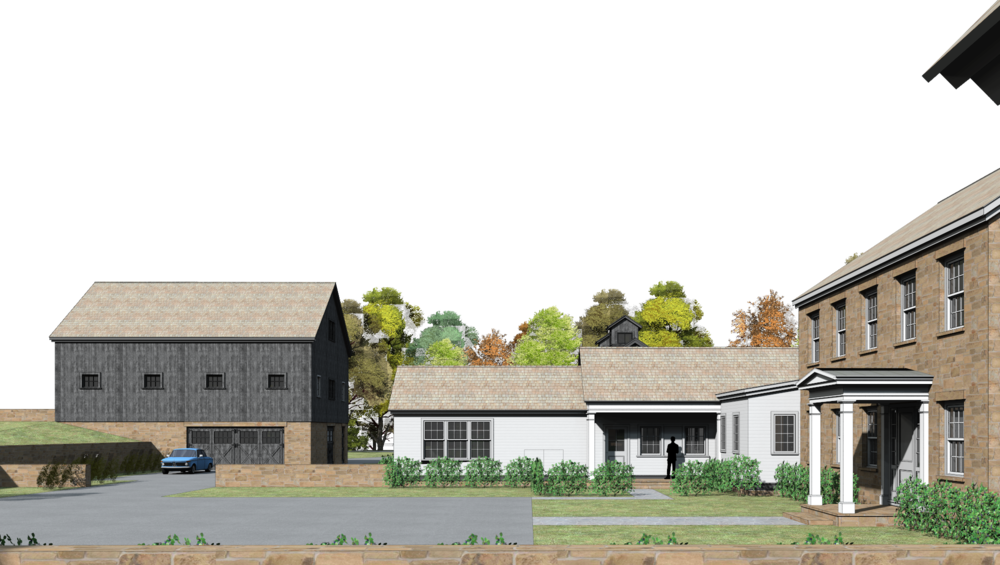 3d rendering: car barn & main house