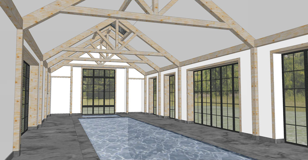 3d rendering: pool barn interior