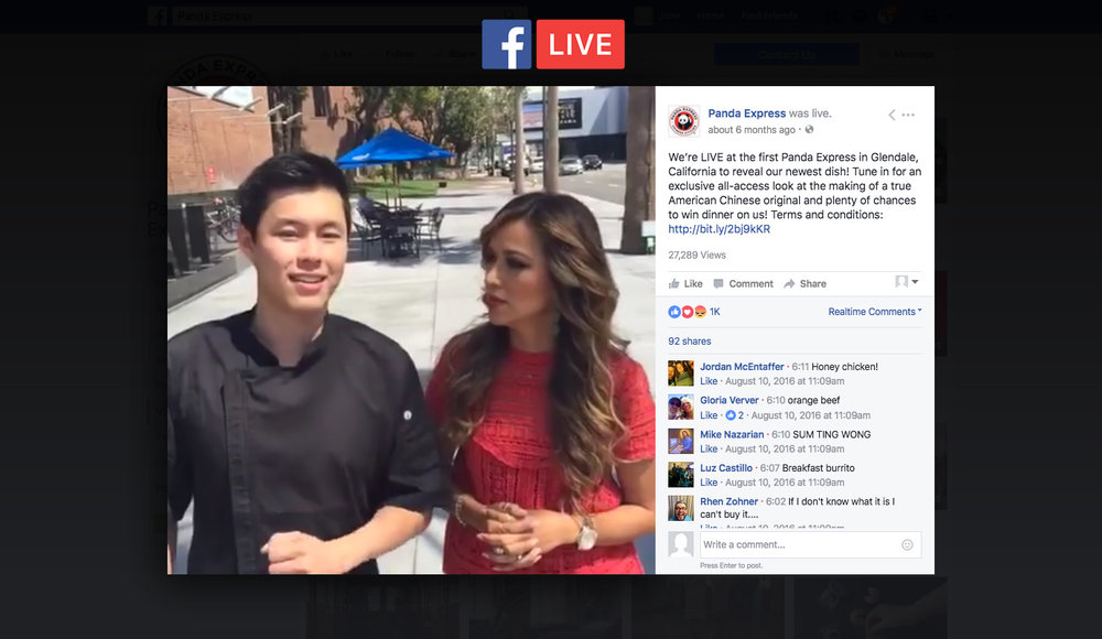 Facebook LIVE Product launch for General Tso's Chicken shot at the Glendale Galleria, home of the first Panda Express location.