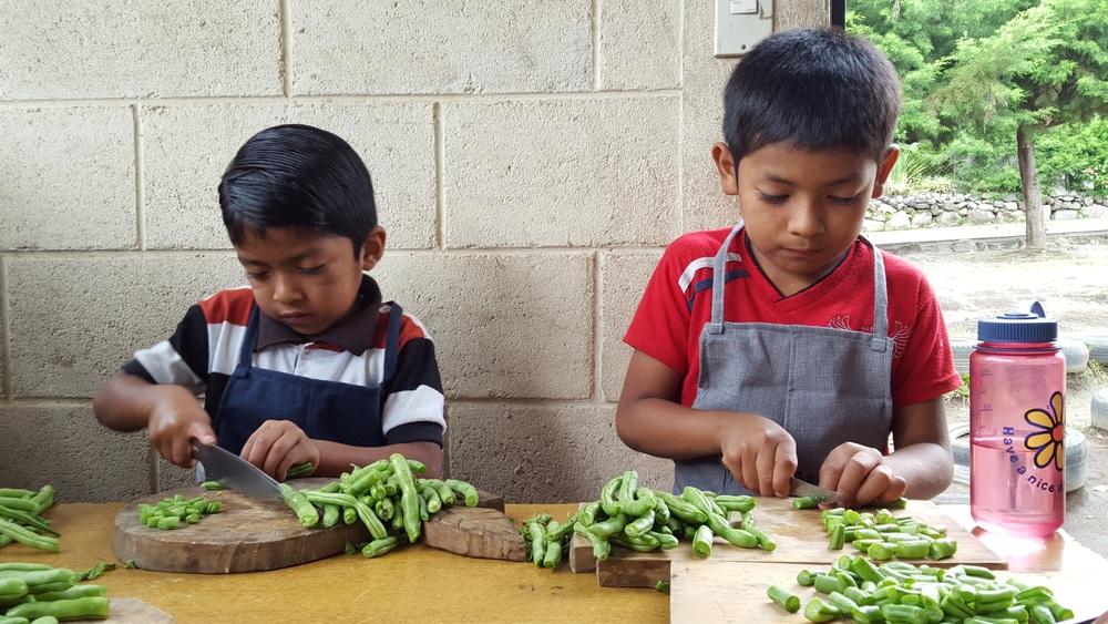 Preparing the harvest for the school lunch.   (Photo courtesy of Pueblo a Pueblo)