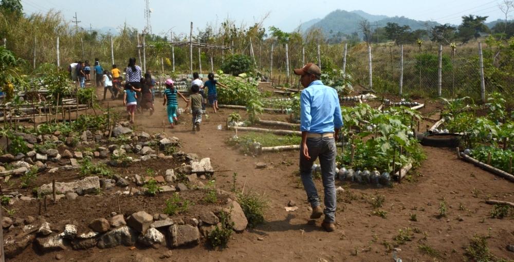 1st Grade class in the Nueva Vida school garden, San Lucas Toliman, Guatemala