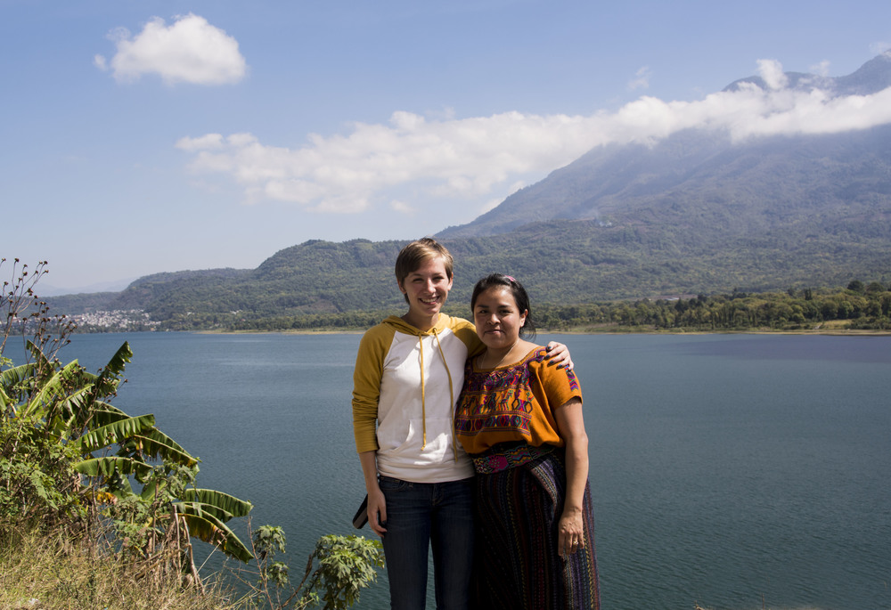 Sarah Otis, Communications Coordinator for Pueblo a Pueblo and Johanny Quieju, director of the Primary Education Scholarship program at Lake Atitlan.