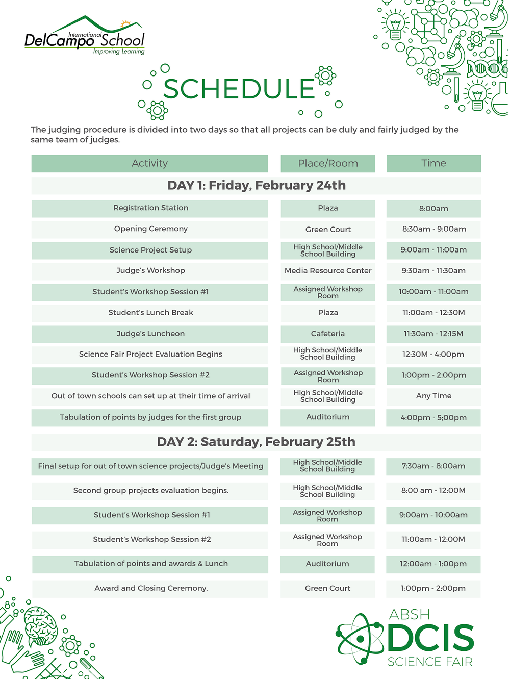 DCIS Science Fair Schedule