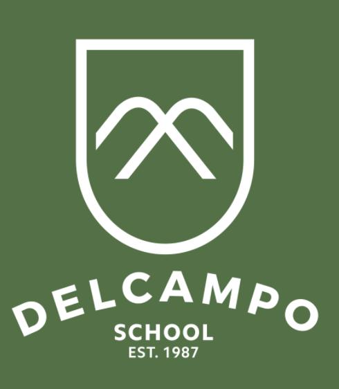 DelCampo School White Logo
