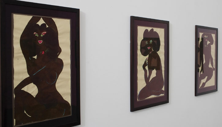 Installation view: Chris Ofili, untitled, 2007, watercolor and pencil on paper.