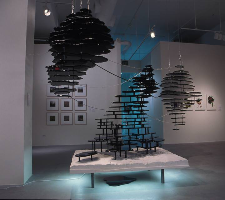 Foreground, Susan Meyer, the enterprise, 2006, Mixed media, Sounds from the Forbidden Planet soundtrack by Louis and Bebe Barron and The Lonely Surfer by Jack Nitzche, Dimensions variable.  Background (left) Paolo Ochoa, HOT! 10, 2006, Ink on Duralar, 12 x 9 inches each.
