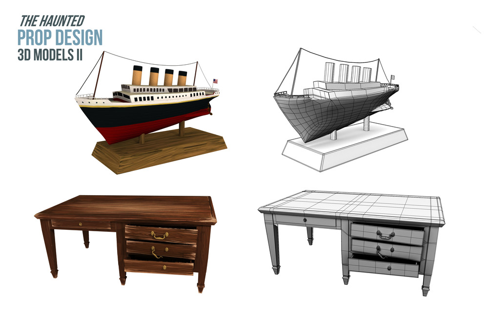 Along with color map, created bump, spec, and diffuse maps for models. Wood texture a mixture of realistic and handpainted sources. Ship is 6851 tris. Desk is 11497 tris.