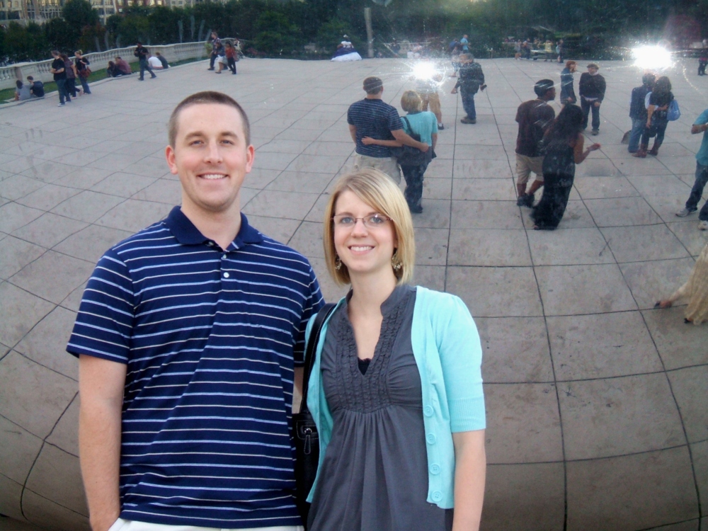 "Speaking of beans, here we are at ""The Bean"" in Chicago several years ago. This post is about the food kind of bean, though, not the sculpture kind. Carry on."