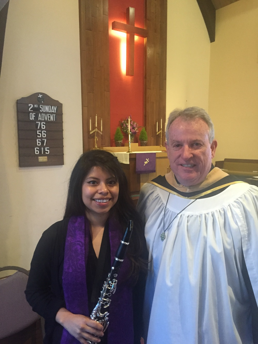 Musician Nancy Crisostomo with Director of Music Christian Stendel