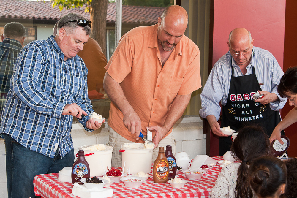 Servin' up sundaes with a few of the dads (and a wee bit of self promotion)...
