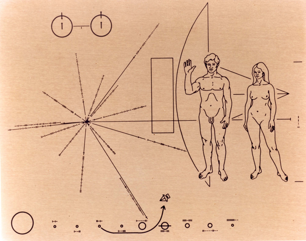 Here's the Pioneer Plaque, illustrated by Carl Sagan's then-wife. Photo Credit: The Curious Astronomer.