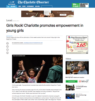 The Charlotte Observer stops by our first summer camp! June 26, 2014