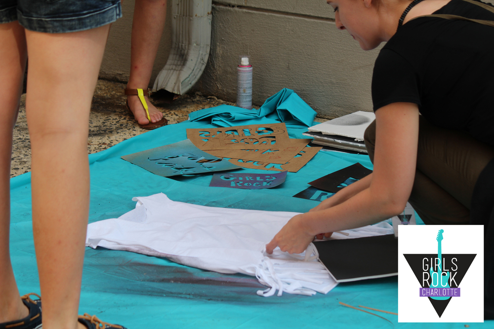 Campers do a DIY Tshirt workshop and some bands make their Ts for the concert.