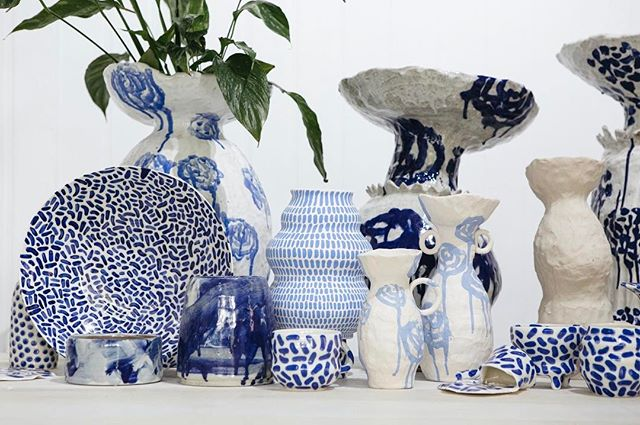 Pieces in all stages of the ceramic cycle.