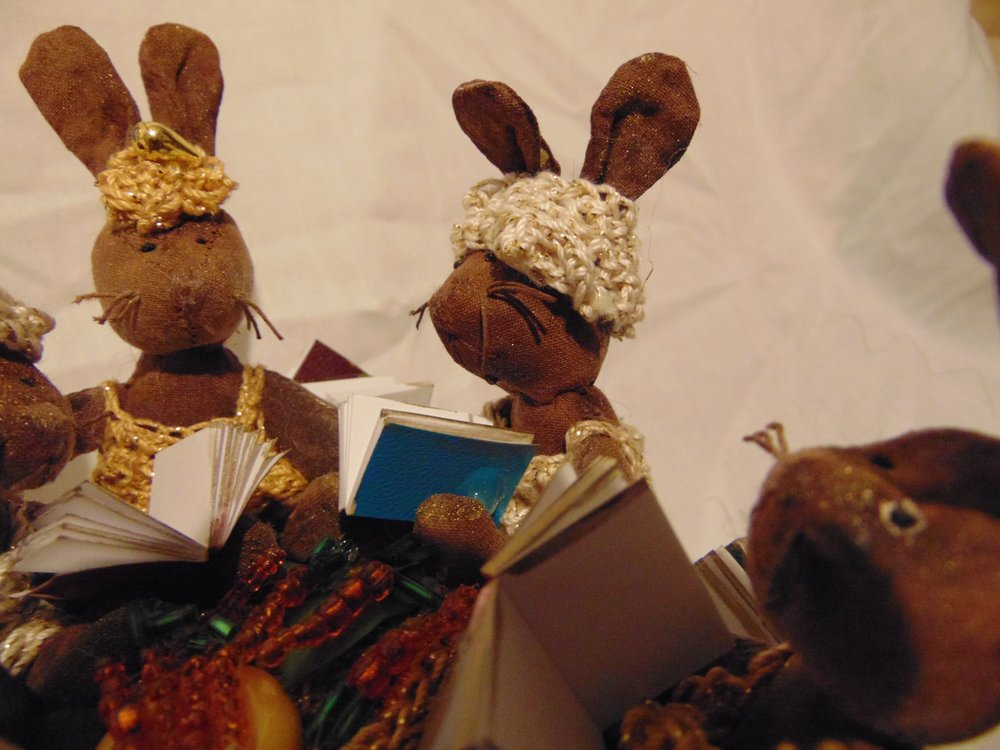 Bunnies reading Hare the One at their Easter Read and Lunch Party.