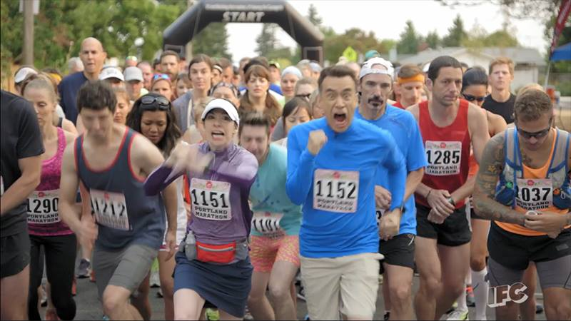 "Mark, #1285 on the right, has never been that far back in the pack in his life. (From an episode of ""Portlandia."")"