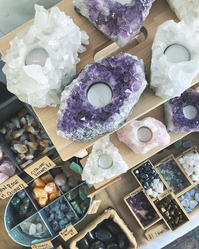 So many fun new sparkles ready to head to their new homes at the @denver_flea today! These amethyst, clear quartz, and rose quartz candle holders are perfect for under the tree! ✨