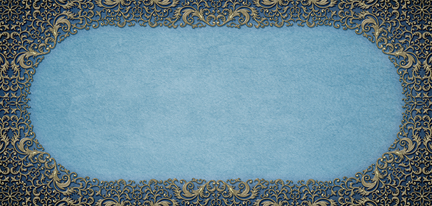 Casket Cap Insert Filigree Frame Blue